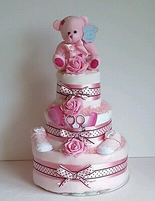 3 Three Tier Nappy Cake - Girl / Baby Shower / Maternity Leave / New Baby Gift