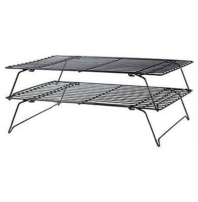 2 Tier Stainless Steel Baking Wire Cake Cooling Rack Cupcakes Biscuits Pastries