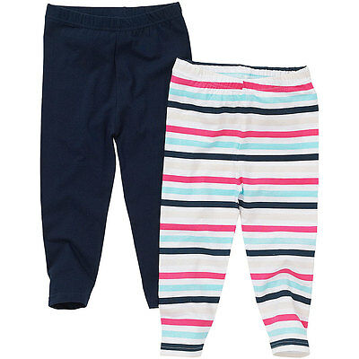 Just Essentials Girls 2 Pack Leggings Spot/Stripe/Plain Cotton Summer Holidays