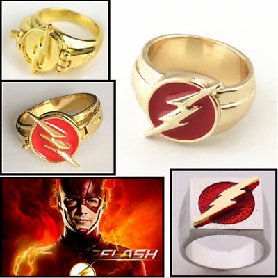 The Flash Ring Can Open Cover Lightning Logo Superhero DC Comics Jewelry