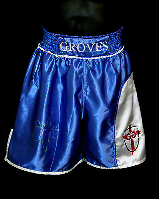 *New* George Groves Signed Custom Made Boxing Trunks : Signed in Silver