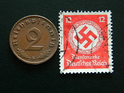 Set of Third Reich German coin - 2 pfennig and stamp with Swastika - (C19)