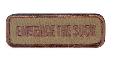 NCO Embrace The Suck 1.25x3.5 Hook Back Hook Military Airsoft Morale Tab Patch