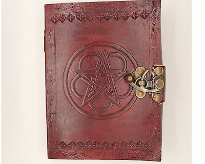 Pentacle / Pentagram Blank Book Of Shadows Wicca Diary Witch Leather Journal 7x5