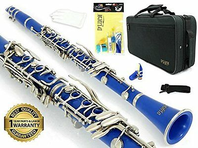 D'Luca 200 Series Blue ABS 17 Keys Bb Clarinet with Canvas Case, 1 Year Warranty