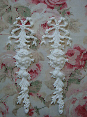 NEW! Shabby-Chic Ribbon Rose Floral Drop 2 Pc Furniture Applique Architectural