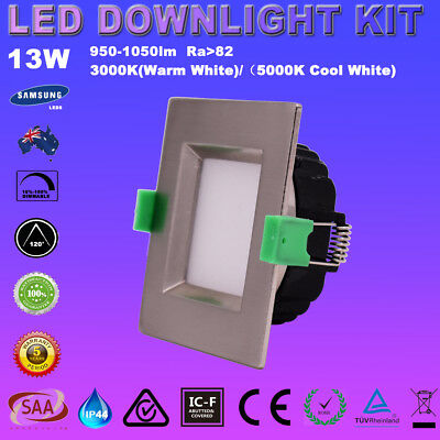 1/6X13W Square Satin Chrome Led Downlight Kit Dimmable Warm/cool White  Ceiling