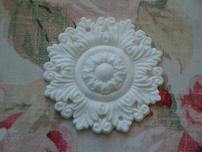 New Shabby n Chic Acanthus Bead Medallions 2 pcs Furniture Appliques Trim