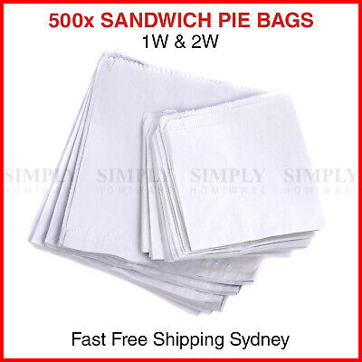 500x 1W 2W Paper Bags White Flat Sandwich Pie Take Away Takeaway Lolly String 3F