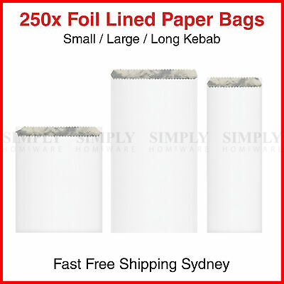 250x Foil Lined Paper Bags Small Large Long Kebab Chicken Take Away Chips Bulk
