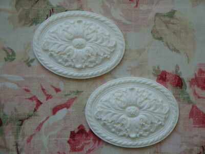 NEW! Shabby & Chic 2 Large Oval Acanthus Leaf Medallions Applique Architectural