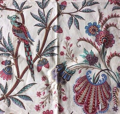 Exotic c1840-1860 French Antique Bird Indienne Fabric Textile~Hand Blocked