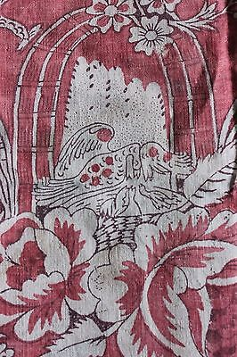Rare French 18thC Toile de Jouy~Block Print Nesting Birds~ Fabric Textile