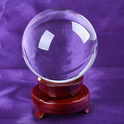 LONGWIN Fengshui Crystal Ball Glass Sphere with Wood Stand 120mm