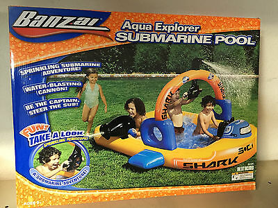Banzai Aqua Explorer Submarine Pool Inflatable Kids Swimming Sprinkler 2 yr+ NIB