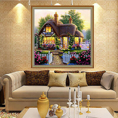 Beautiful Garden House Counted Cross Stitch Kit 5D Diamond Embroidery Home Decor