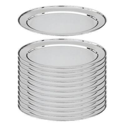 12x Oval Platter, 250mm, Stainless Steel, Oval w Rolled Edge, Plate / Catering