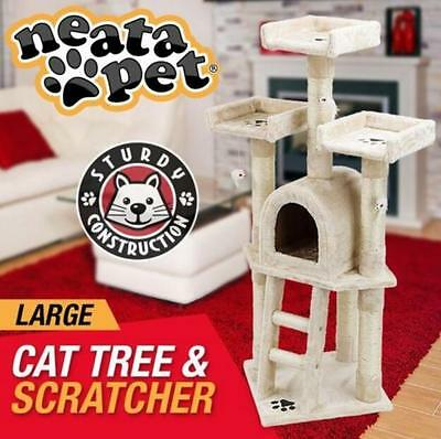 117cm Cat Scratching Post Tree House Furniture Scratcher Pole Gym Multi 3 Level