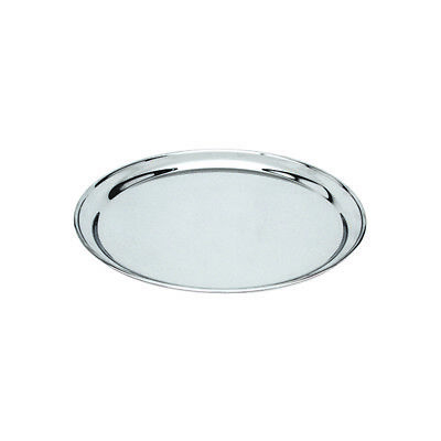 Round Platter 300mm Stainless Steel Rolled Edge Serving Plate Catering Tray NEW