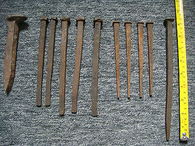 Square Nails - Collection Of 11 Various Square Steel Nails