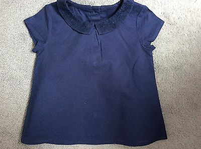 M&S NAVY BLUE BLOUSE WITH EMBROIDERED COLLARS,SHORT SLEEVES -9-12m BRAND NEW