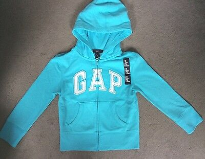 GAP AQUA HOODIE WITH SEQUIN GAP LOGO IN WHITE WITH SEQUIN EDGING-AGE 4-5y BNWT