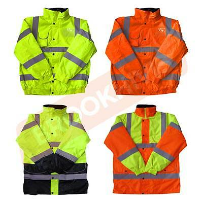High Visibility Hi Viz Vis Jacket Bomber Parka Coat Reflective Safety Work Wear