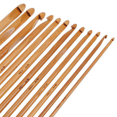 12 Pcs Sweater Circular Bamboo Handle Crochet Hooks Smooth Weave Craft Needle