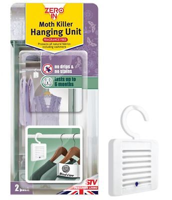 Zero In Clothes Fabric Moth Killer Wardrobe Hanging Unit Twin Pack