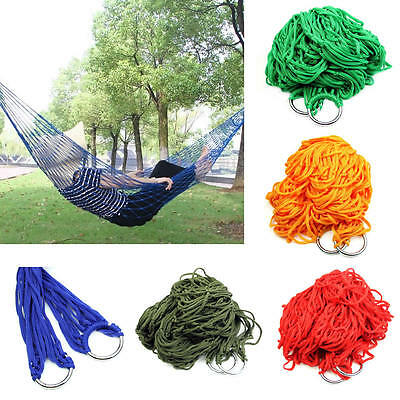 Nylon Portable Outdoor Mesh Hammock Hanging Sleeping Bed Swing Travel Camping