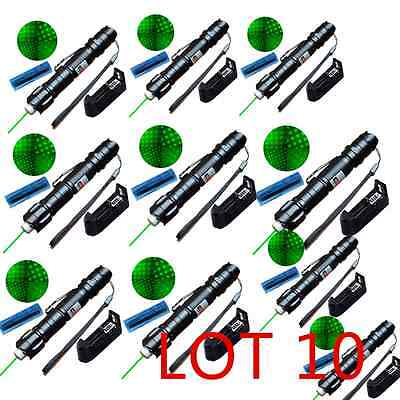 LOT 10 Green Laser Pointer Pen 532nm Beam Light Star Cap+18650 Battery+Charger