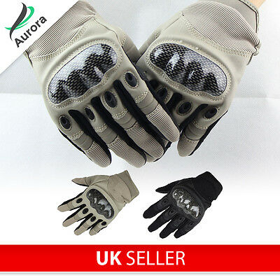 Airsoft Paintball Cycling Military Armoured Gloves Carbon Knuckle Protection