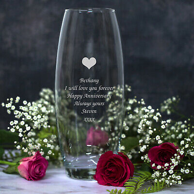 Personalised Heart Glass Bullet Vase Birthday Anniversary Mothers Valentines Day