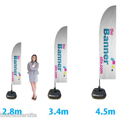 Feather Flag Advertising Printed Flag sign, includes pole & black water base