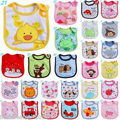 1 PC 100% Cotton Embroidery Baby Bibs Children Self Feeding Care 31x20cm