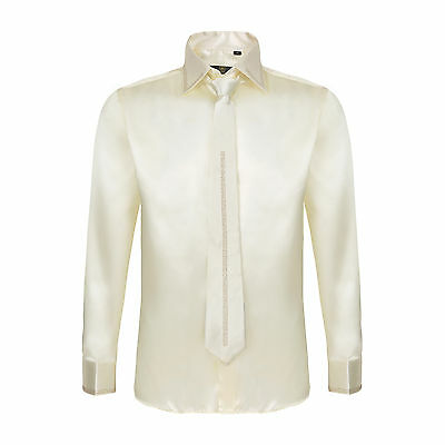 Robelli Men's Diamante Collar Cuff Satin Shirt & Matching Tie - Cream / Biege