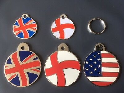 Engraved Cat / Dog / Pet ID tag Patriot Flags - England, Union Jack, America etc • EUR 4,35