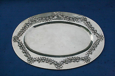 Interesting Antique Taxco Mexico 930 Sterling Silver Repousse Tray Dish