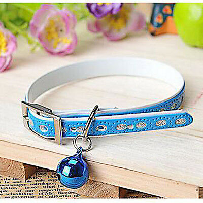 Leather Adjustable Bell Collar Cat Kitten Dog Pet Necklace Chain Collars