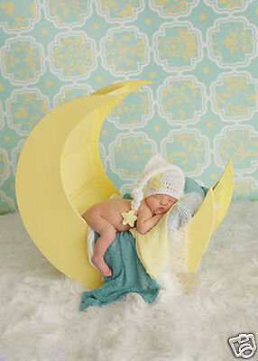 Crochet Newborn Photography Boys Girls Moon Star Knit Hat Cap Baby Photo Props
