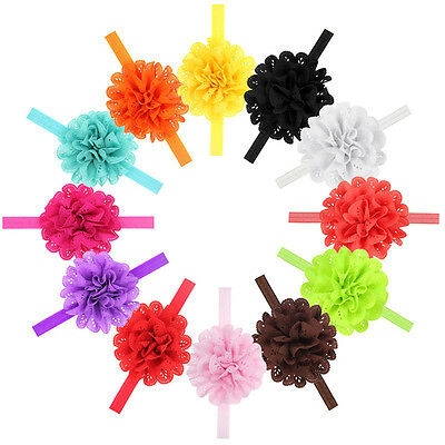 10Pcs Kids Girl Baby Infant Toddler Bow Flower Headband Hair Band Headwear Gift
