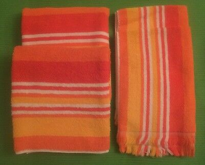4 pc. Vintage 1960s CANON N.Y. USA-Made ORANGE CANDY-STRIPE TOWELS 2 Hand 2 Bath