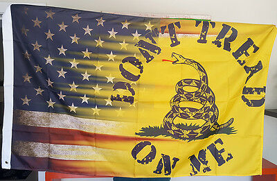 USA & YELLOW DONT TREAD ON ME Gadsden Culpeper TEA PARTY FLAG 3X5 Don't Tread
