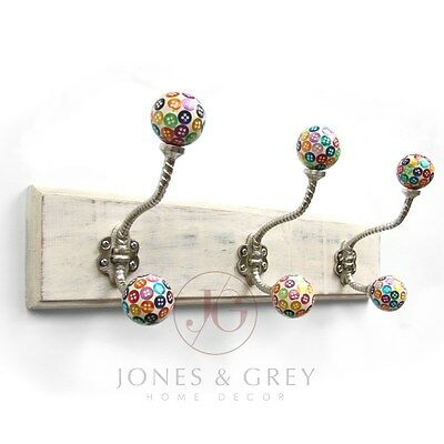 Vintage Shabby Chic Wooden Coat Rack Wall Hooks Jewellery Hanger Button Knobs