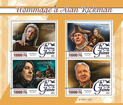 Guinea 2016 MNH Alan Rickman Tribute 4v M/S Severus Snape Harry Potter Stamps