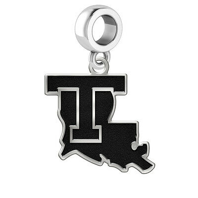 611219290 Louisiana Tech Bulldogs Antique Finish Silver Dangle Fits Bead Charm  Bracelets