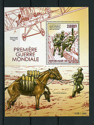 Guinea 2015 MNH WWI First World War I 1v S/S Horses Royal Aircraft Stamps