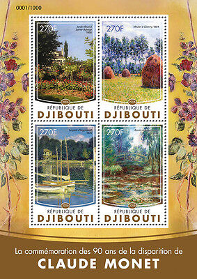 Djibouti 2016 MNH Claude Monet 4v M/S Bridge Argenteuil Giverny Paintings Stamps