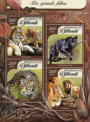 Djibouti 2016 MNH Big Cats 4v M/S Wild Animals Tigers Leopards Lions Stamps