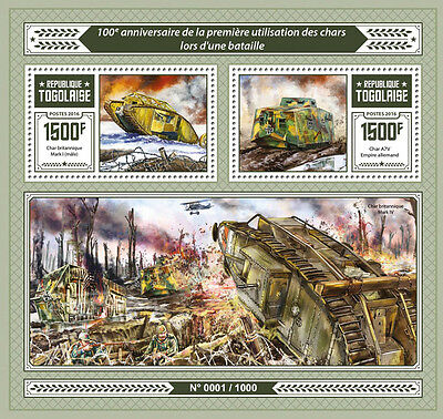 Togo 2016 MNH Tanks First Use in Battle 100th Anniv 2v S/S Mark IV Tank Stamps